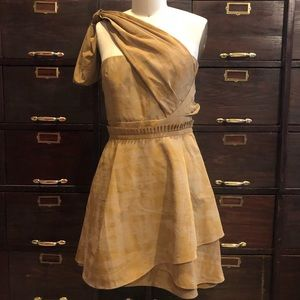 Vera Wang Lavender - Gold Printed Taffeta Dress 4
